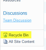 Site Recycle Bin
