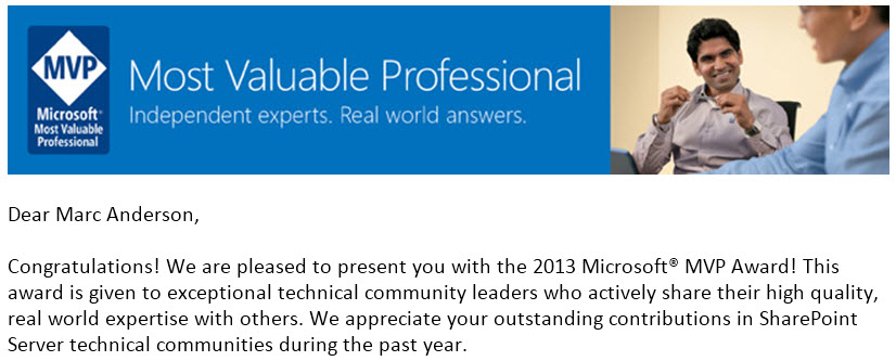 2013 SharePoint MVP Notification
