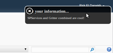 Proof of concept Gritter Sharepoint hover