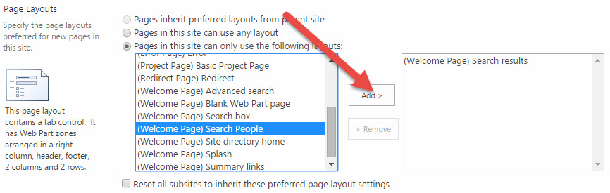 Enable a page layout