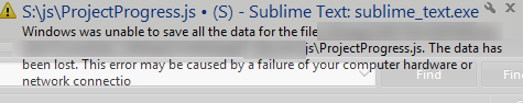 Can't save JavaScript file from Sublime Text