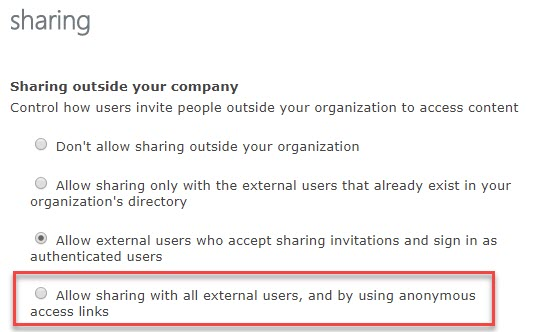 "Enabling the ""Anyone"" Sharing Setting in and Office 365 Site 